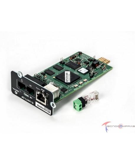 UPS Online monofasicas y bifasicas VERTIV IS-UNITY-DP Tarjeta de monitoreo IntelliSlot con protocolos SNMP Modbus y o BACNET IP